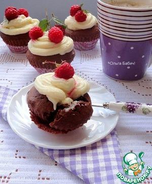 Рецепт Шоколадные кексы с шоколадным кремом на манной крупе