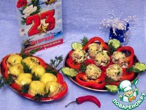 """Рецепт Закуска из грибов, куриного мяса и пшена """"23 февраля-красный лист календаря"""""""