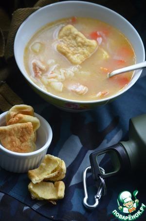 Рецепт Рисовый суп с жареными лепешками