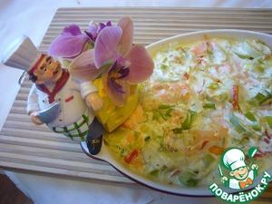 Рецепт Гратан из форели и лука-порея со сливками