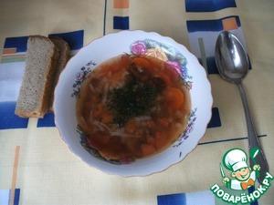 Рецепт Овощной суп с фасолью и рисом