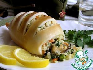 Рецепт Кальмары, фаршированные мидиями, овощами и кус-кусом