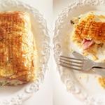 Слоеный пирог с ветчиной, сыром и шпинатом
