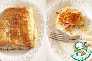 Рецепт Слоеный пирог с ветчиной, сыром и шпинатом
