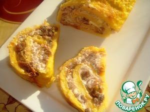 Рецепт Рулет из тыквы с начинкой из гречки, брынзы и вяленых помидоров