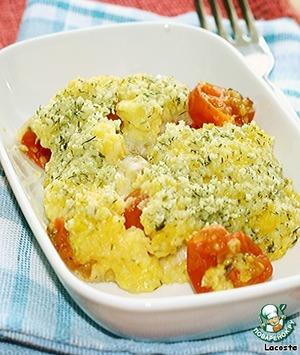 Рецепт Полента, запеченная с помидорами черри и моцареллой