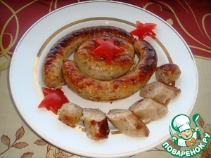 Рецепт Домашняя колбаса из курицы, свинины, индейки и говядины с гречкой и сливками