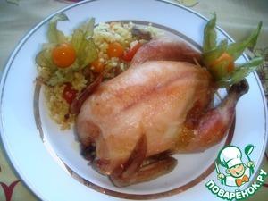 Рецепт Мини-цыпленок, фаршированный пшенкой с жареным луком, колбасой и физалисом