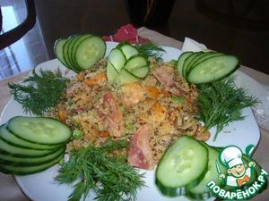 Рецепт Киноа с ветчиной и креветками (теплый салат)