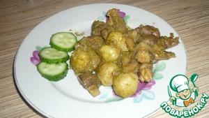Рецепт Куриные сердечки с брюссельской капустой и шампиньонами