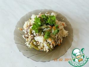Рецепт Рис с овощами и куриными сердечками а-ля ризотто