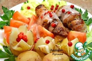 Рецепт Рулетики из свинины с сыром и чесноком