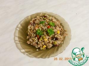 Рецепт Гречка с овощами и куриными желудочками