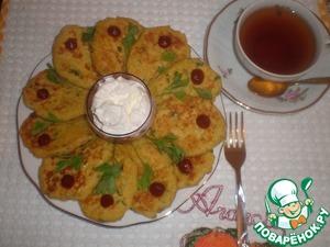 Рецепт Кукурузные лепешки с Кус-Кусом, зеленью и сыром