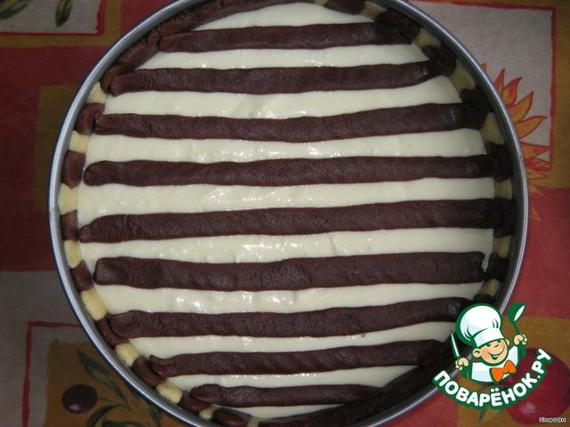 Пирог зебра с творогом рецепт с фото