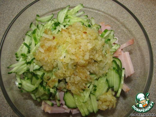Салат с грибами и ветчиной пошаговой