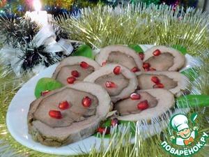 Рецепт Рулет из свинины с языком в чайном маринаде