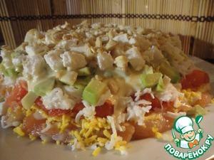 Рецепт Слоеный салат с красной рыбой