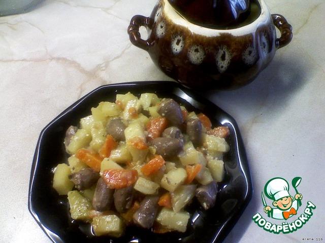 Готовим Жаркое из куриных сердечек в горшочке домашний пошаговый рецепт приготовления с фотографиями #6