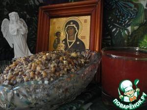 Рецепт Рождественская кутья с узваром из клюквы и яблок