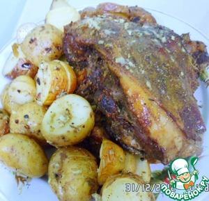 Рецепт Карман из бараньей ноги с брынзой и базиликом