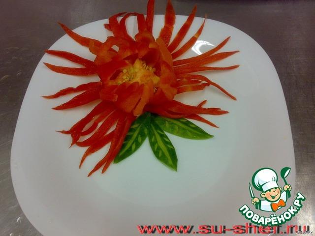 Украшение салатов болгарским перцем