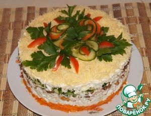 Рецепт Салат из курицы с орехами и изюмом