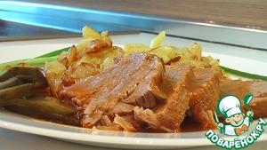 Рецепт Говядина тушеная с жареным картофелем