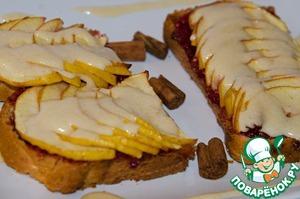 Рецепт Яблочно-малиновый десерт с яичным кремом