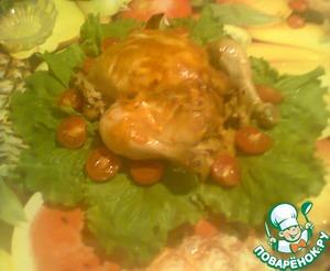 Рецепт Запечёная курочка с яблоками с золотистой корочкой