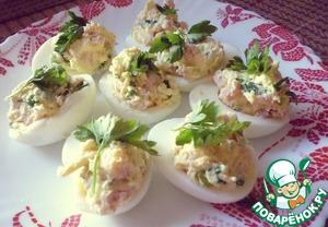 Рецепт Фаршированные яйца с ветчиной и зеленью