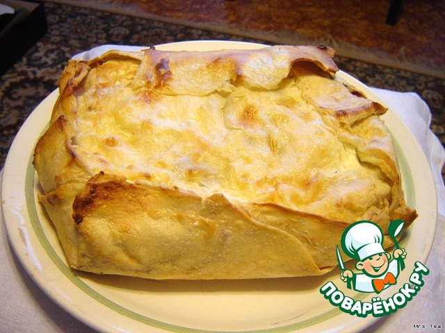 Пирог творожный  в лаваше простой рецепт с фото готовим #1