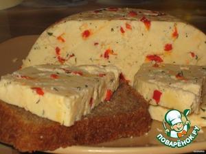 Рецепт Домашний твердый сыр с перчиком и укропом