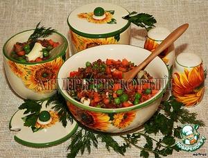 Рецепт: Гречка с овощами из духовки