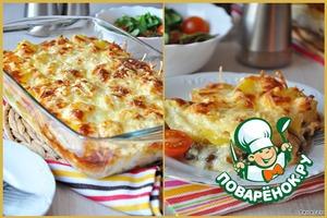 Рецепт Сливочно-сырная запеканка с грибами и картофелем