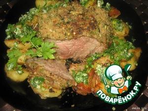 Рецепт Мясо с интересной корочкой, запечeнное с картофелем