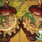 Гречка с сердечками и грибами в горшочках