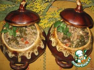 Рецепт Ароматная гречка с сердечками и грибами в горшочках