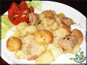Рецепт Картофель, тушенный с нудлями по-украински