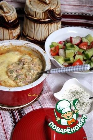 Рецепт Гороховый гратин с грибами и ветчиной