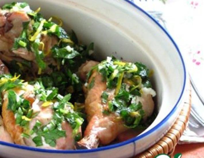 Рецепт: Жаркое из курицы с лимоном и чесноком