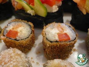 """Рецепт Гинкан-маки, темпура-маки, сяке темари суши и ролл """"Мозаика"""""""