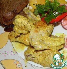 Рецепт Куриные крылышки в соусе карри
