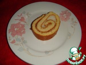 Рецепт Миндальный рулет с воздушной яблочной начинкой без сахара и муки