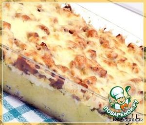 Рецепт Картофельная запеканка с грибами, брынзой, сыром и укропом