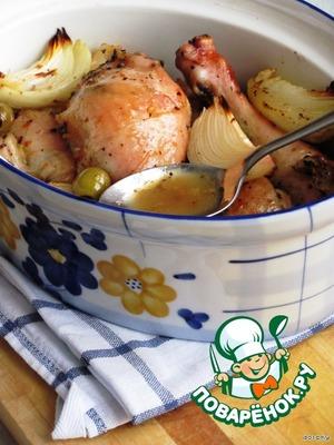 Рецепт Жаркое из курицы с апельсином, медом и травами