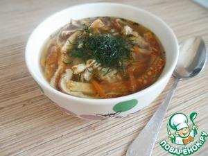 Рецепт Суп с фрикадельками и яично-рисовыми блинчиками