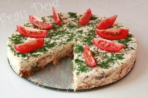 Рецепт Сырный торт с ветчиной и грибами