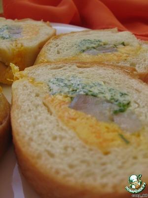 """Рецепт Багет """"Закусочный"""" с сельдью и разноцветным маслом"""