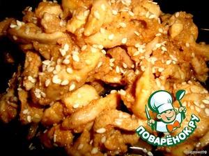 Рецепт Куриная поджарка в яблочно-медовом маринаде